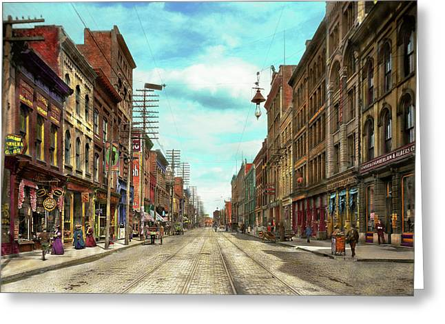 City - Knoxville Tn - Gay Street 1903 Greeting Card by Mike Savad