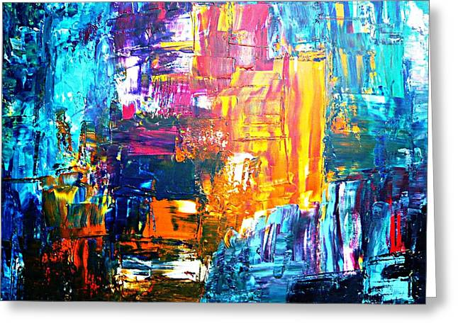 Greeting Card featuring the painting City Life by Piety Dsilva