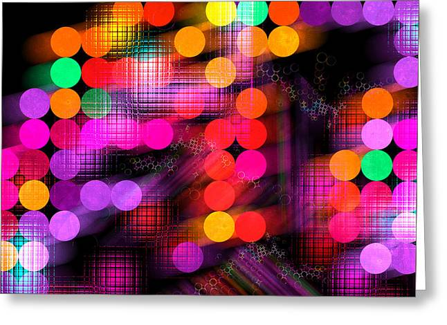 Greeting Card featuring the digital art City Lights by Fran Riley