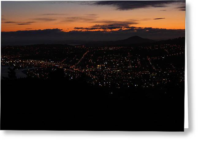 City Lights From Signal Hill Greeting Card by Terry Perham