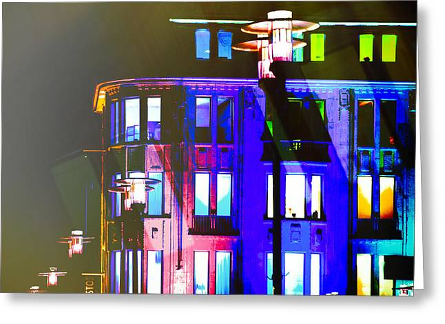 City Lights Mood Greeting Card by Nicole Frischlich