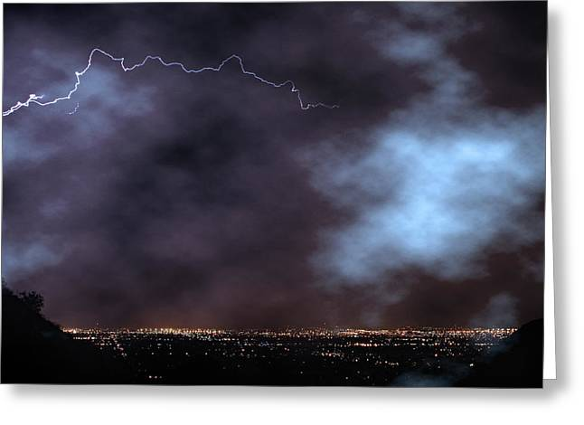 City Lights Night Strike Greeting Card by James BO Insogna