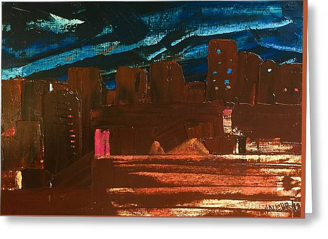 Greeting Card featuring the painting City Lights by Norma Duch