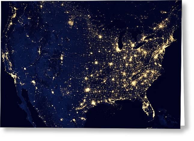 City Lights Of The United States Greeting Card