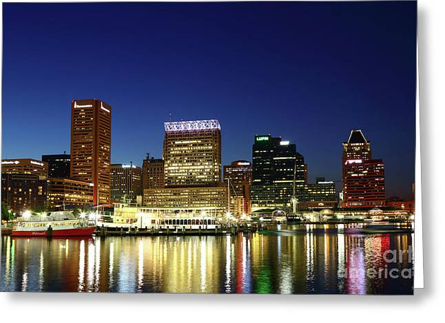 City Lights Reflected In Baltimore Inner Harbor At Twilight Greeting Card