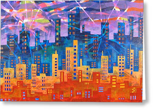City Lights Greeting Card by Rollin Kocsis