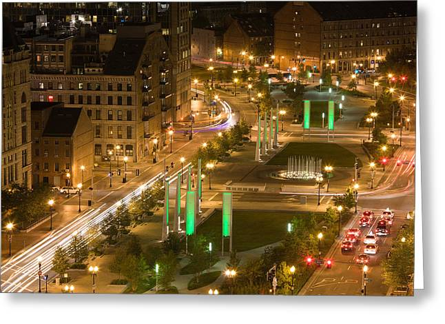 City Lit Up At Dusk, Atlantic Avenue Greeting Card by Panoramic Images