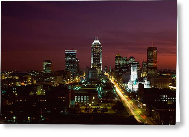 City Lit Up At Night, Indianapolis Greeting Card by Panoramic Images