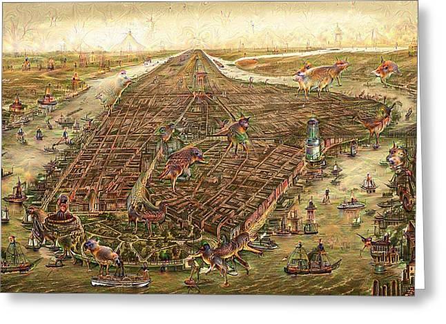 City Map New York Manhattan 1870 Deep Dream Greeting Card by Matthias Hauser