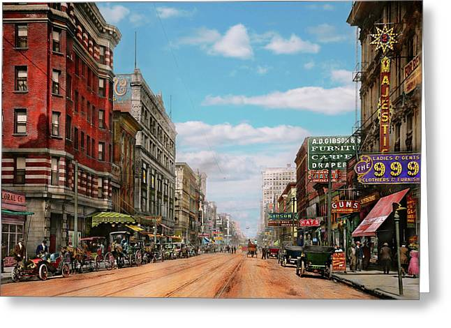 Greeting Card featuring the photograph City - Memphis Tn - Main Street Mall 1909 by Mike Savad