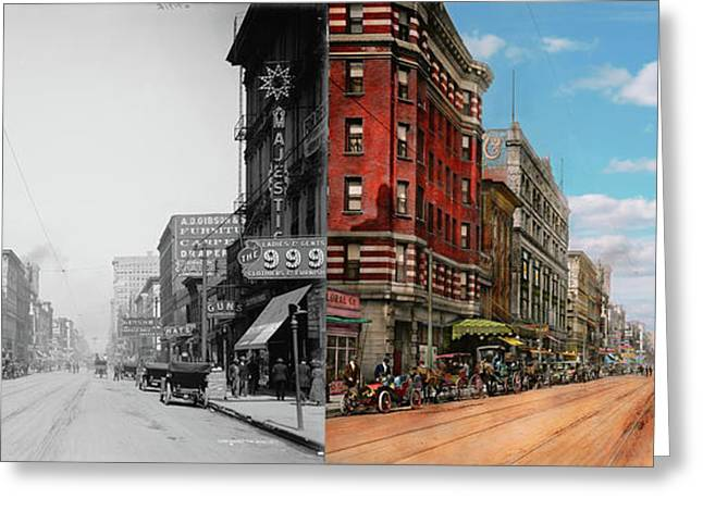 Greeting Card featuring the photograph City - Memphis Tn - Main Street Mall 1909 - Side By Side by Mike Savad