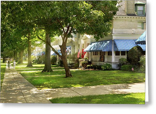 Greeting Card featuring the photograph City - Naval Academy - A Walk Down Captains Row by Mike Savad