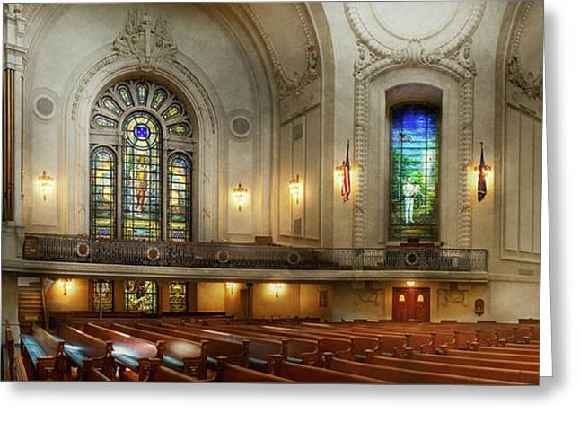 Greeting Card featuring the photograph City - Naval Academy - God Is My Leader by Mike Savad