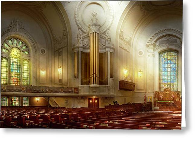 Greeting Card featuring the photograph City - Naval Academy - The Chapel by Mike Savad