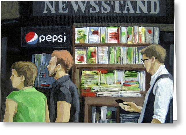 City Newsstand - People On The Street Painting Greeting Card by Linda Apple