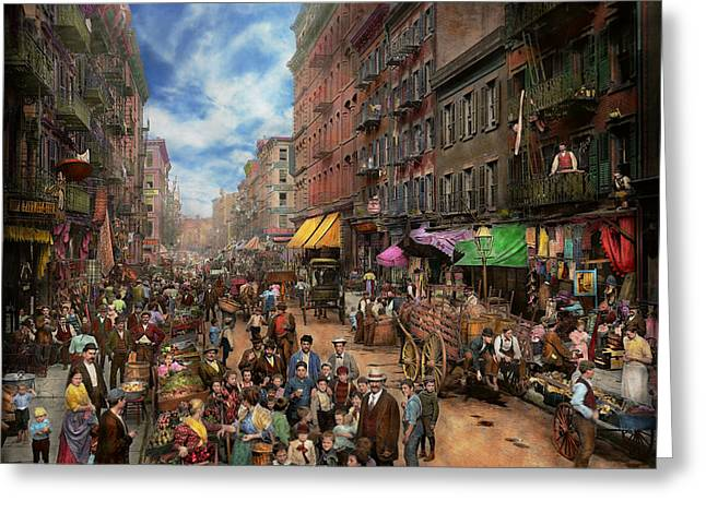 City - Ny - Flavors Of Italy 1900 Greeting Card by Mike Savad