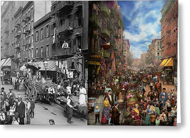 City - Ny - Flavors Of Italy 1900 Side By Side Greeting Card by Mike Savad