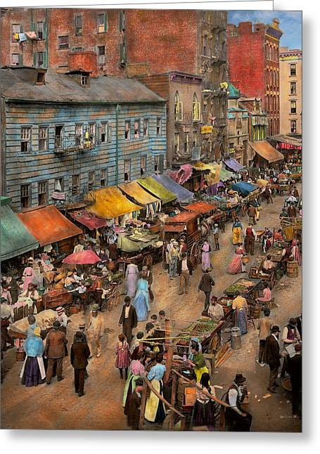 City - Ny - Jewish Market On The East Side 1890 Greeting Card by Mike Savad