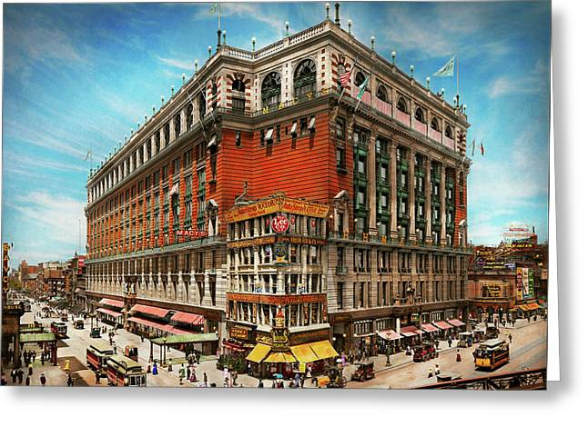 Greeting Card featuring the photograph City - Ny New York - The Nation's Largest Dept Store 1908 by Mike Savad