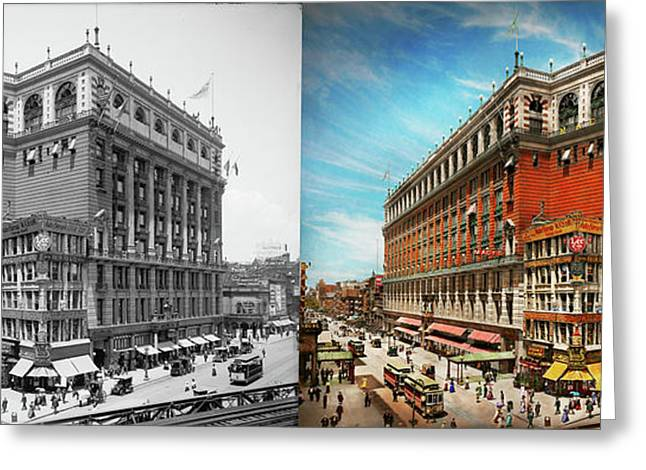 Greeting Card featuring the photograph City - Ny New York - The Nation's Largest Dept Store 1908 - Side by Mike Savad