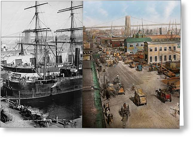 City - Ny - South Street Seaport - 1901 - Side By Side Greeting Card by Mike Savad