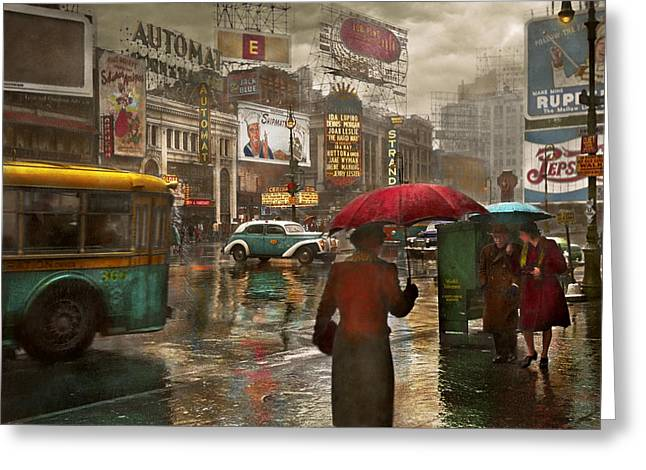 City - Ny - Times Square On A Rainy Day 1943 Greeting Card by Mike Savad