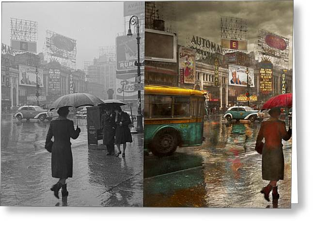 City - Ny - Times Square On A Rainy Day 1943 Side By Side Greeting Card by Mike Savad