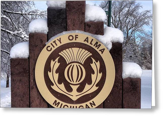 City Of Alma Michigan Snow Greeting Card