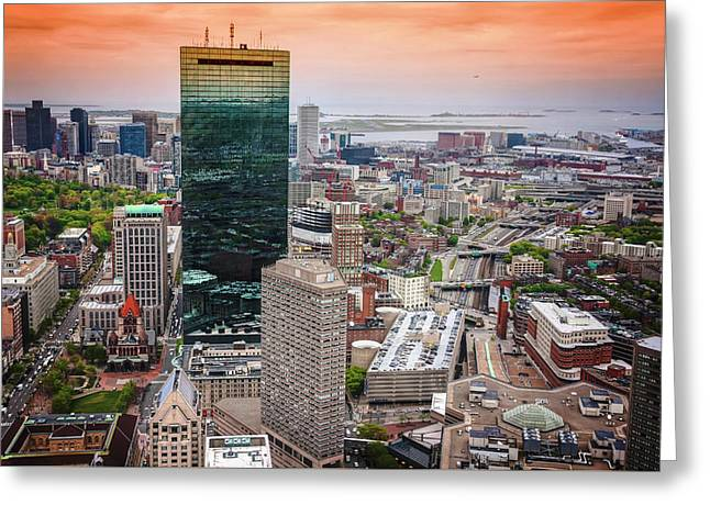City Of Boston Reflected  Greeting Card