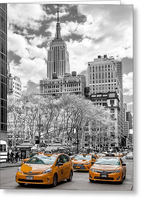 City Of Cabs Greeting Card by Az Jackson