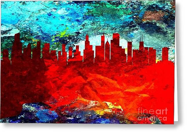 City Of Chicago Grunge Greeting Card
