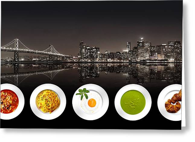 Greeting Card featuring the digital art City Of Cultural Cuisines by ISAW Company