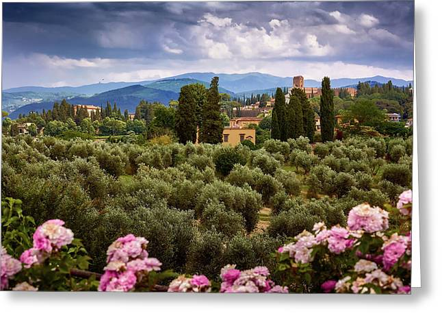 Tuscan Landscape With Roses And Mountains In Florence, Italy Greeting Card