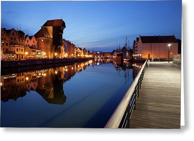 City Of Gdansk By Night In Poland Greeting Card