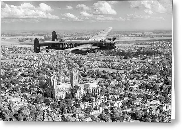 Greeting Card featuring the photograph City Of Lincoln Vn-t Over The City Of Lincoln Bw Version by Gary Eason