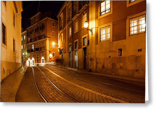 City Of Lisbon By Night In Portugal Greeting Card by Artur Bogacki