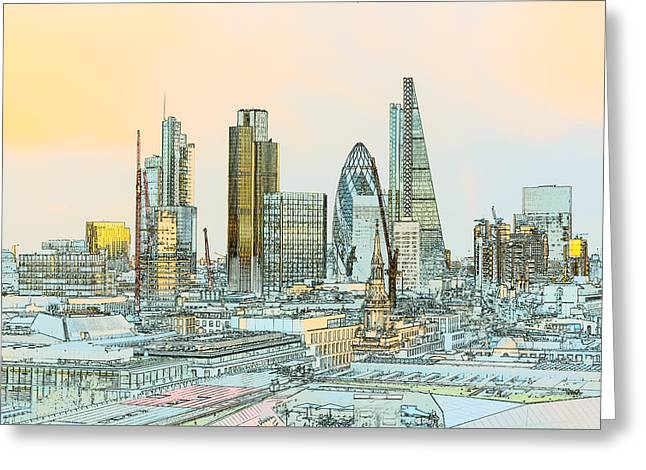 City Of London Outline Poster  Greeting Card by Gary Eason