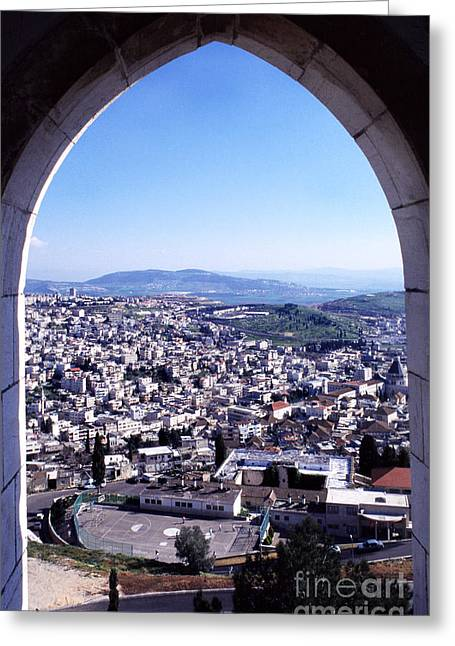 City Of Nazareth From The Saint Gabriel Bell Tower Greeting Card by Thomas R Fletcher