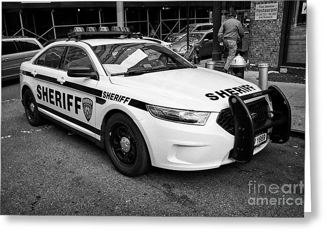 city of new york sheriff department ford police interceptor cruiser vehicle New York City USA Greeting Card