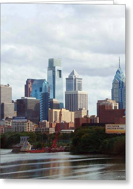 City Of Philadelphia Greeting Card by Linda Sannuti