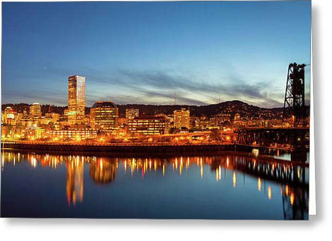 City Of Portland Skyline Blue Hour Panorama Greeting Card by David Gn
