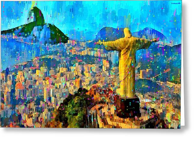 City Of Rio De Janeiro - Da Greeting Card by Leonardo Digenio