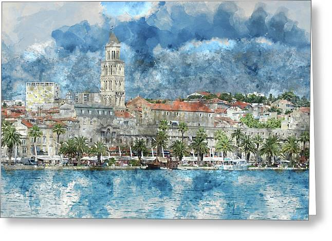 City Of Split In Croatia With Birds Flying In The Sky Greeting Card