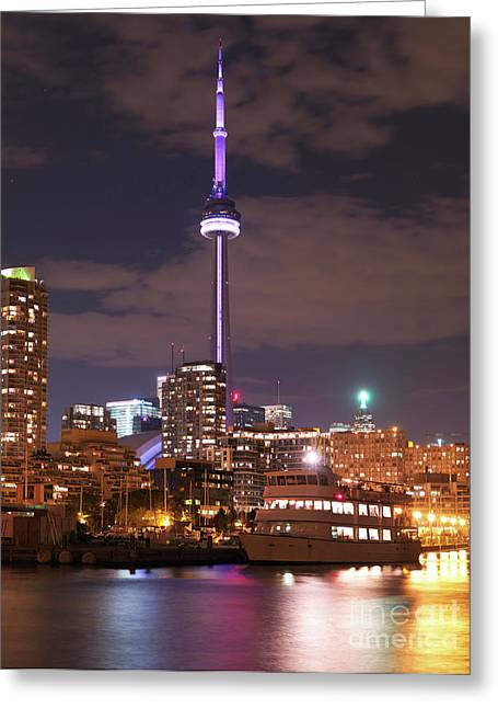 City Of Toronto At Night Greeting Card by Oleksiy Maksymenko
