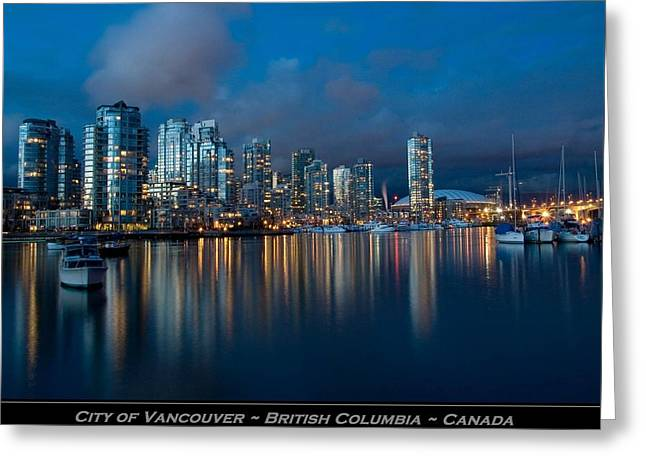 City Of Vancouver British Columbia Canada Greeting Card by Movie Poster Prints