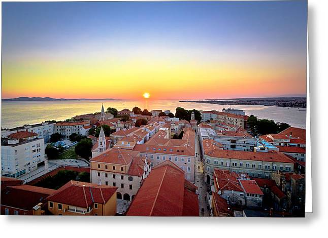 City Of Zadar Skyline Sunset View Greeting Card