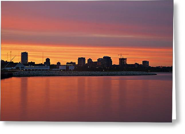 City On Fire Greeting Card by CJ Schmit