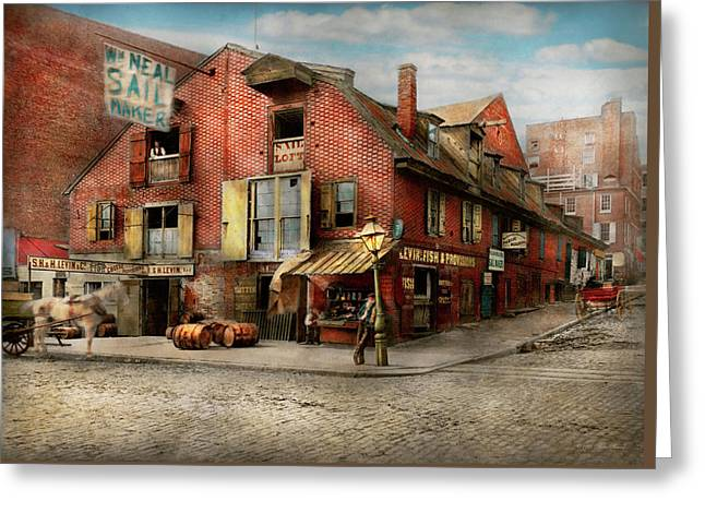 Greeting Card featuring the photograph City - Pa - Fish And Provisions 1898 by Mike Savad