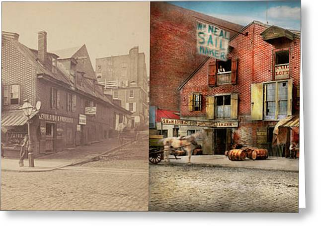 Greeting Card featuring the photograph City - Pa - Fish And Provisions 1898 - Side By Side by Mike Savad
