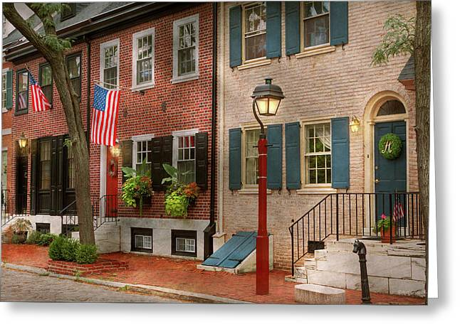 Greeting Card featuring the photograph City - Pa Philadelphia - American Townhouse by Mike Savad